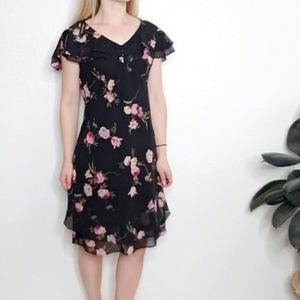 90s Vintage Black Pink Floral Ruffled Slip Dress